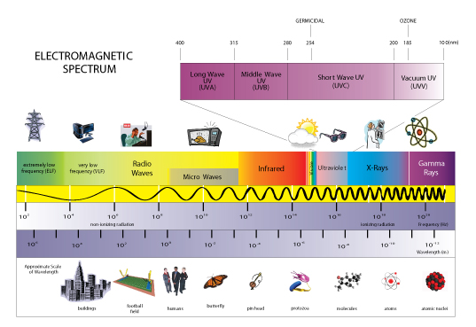 Electromagnetic Spectrum diagram showing the sizes of wavelengths of light compared to objects from buildings to atoms.